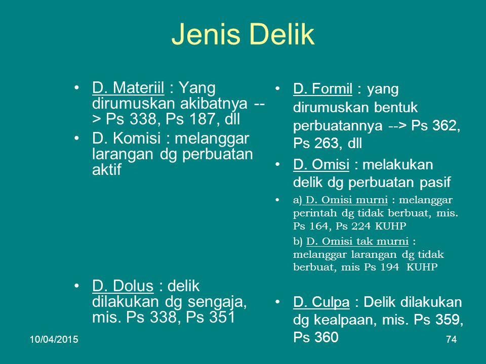 Jenis Delik D. Materiil : Yang dirumuskan akibatnya -- > Ps 338, Ps 187, dll D.