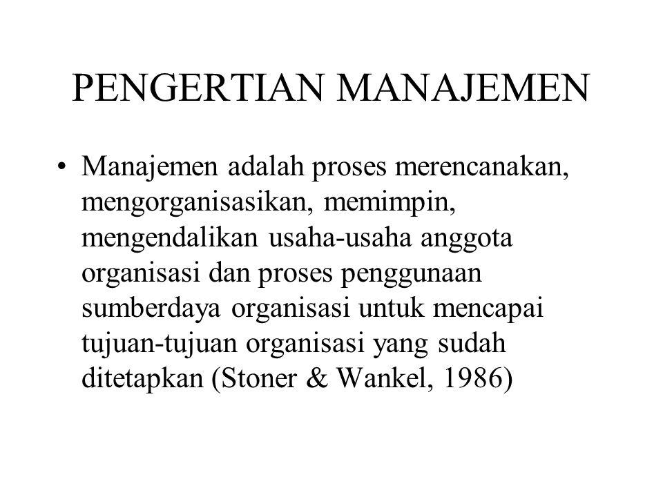 PENGERTIANMANAJEMEN Manajemen adalah proses tertentu yang terdiri dari kegiatan merencanakan, mengorganisasikan, menggerakkan sumberdaya manusia & sumberdaya lain untuk mencapai tujuan yang telah ditetapkan (Terry, 1982)