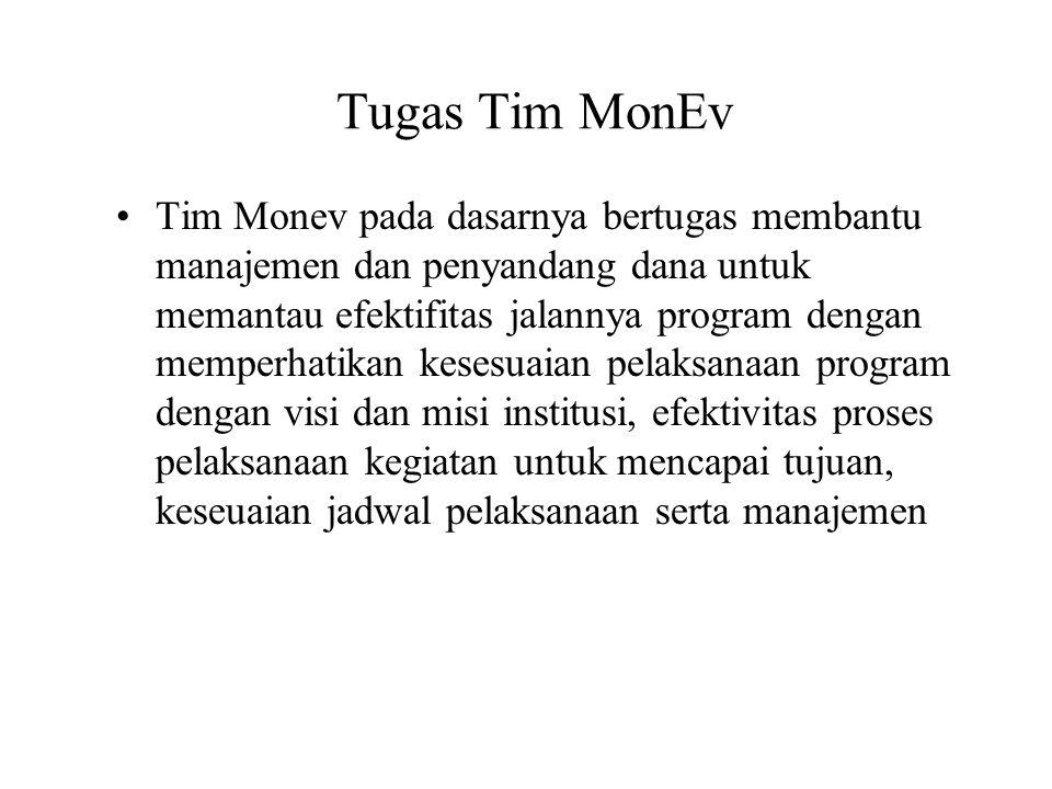 Tugas Tim MonEv Tim Monev pada dasarnya bertugas membantu manajemen dan penyandang dana untuk memantau efektifitas jalannya program dengan memperhatik