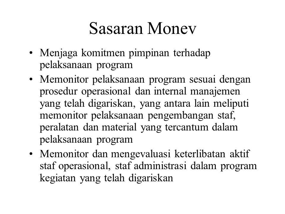 Sasaran Monev Menjaga komitmen pimpinan terhadap pelaksanaan program Memonitor pelaksanaan program sesuai dengan prosedur operasional dan internal man
