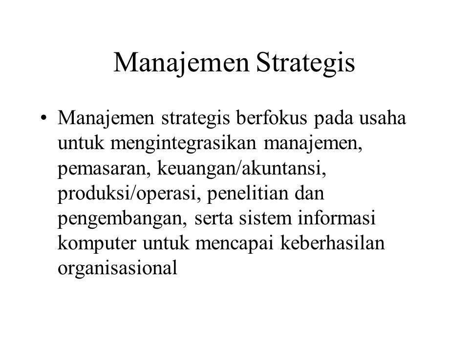 Manajemen Strategis Manajemen strategis berfokus pada usaha untuk mengintegrasikan manajemen, pemasaran, keuangan/akuntansi, produksi/operasi, penelit