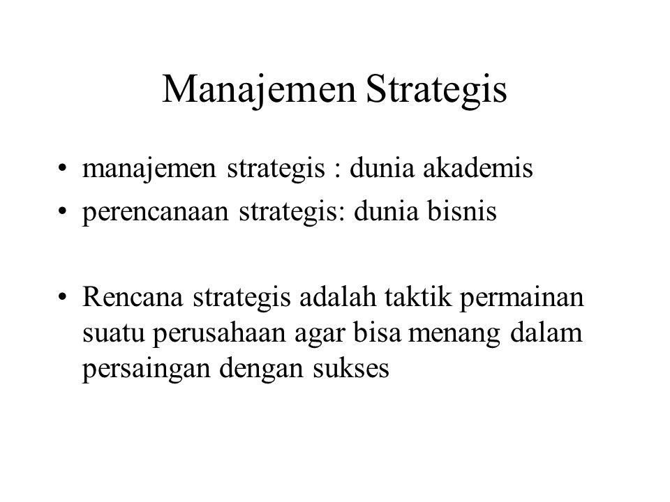 Manajemen Strategis manajemen strategis : dunia akademis perencanaan strategis: dunia bisnis Rencana strategis adalah taktik permainan suatu perusahaa