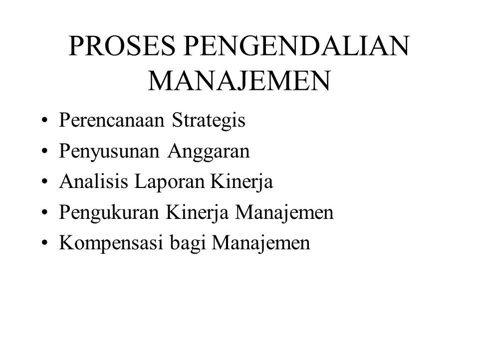 PROSES PENGENDALIAN MANAJEMEN Perencanaan Strategis Penyusunan Anggaran Analisis Laporan Kinerja Pengukuran Kinerja Manajemen Kompensasi bagi Manajeme