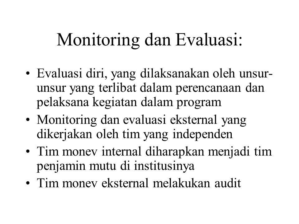 Monitoring dan Evaluasi: Adalah suatu Sistem Manajemen Informasi : Mengamati kemajuan mencapai tujuan utama Mengamati perubahan dalam ukuran, bentuk & profil yang terkait tujuan spesifik Mengamati efisiensi dan efektifitas Menginformasikan perkembangan dan implementasi keuangan
