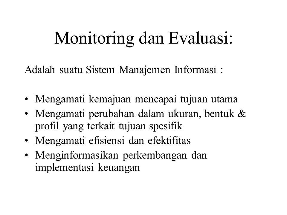 Monitoring dan Evaluasi: Adalah suatu Sistem Manajemen Informasi : Mengamati kemajuan mencapai tujuan utama Mengamati perubahan dalam ukuran, bentuk &