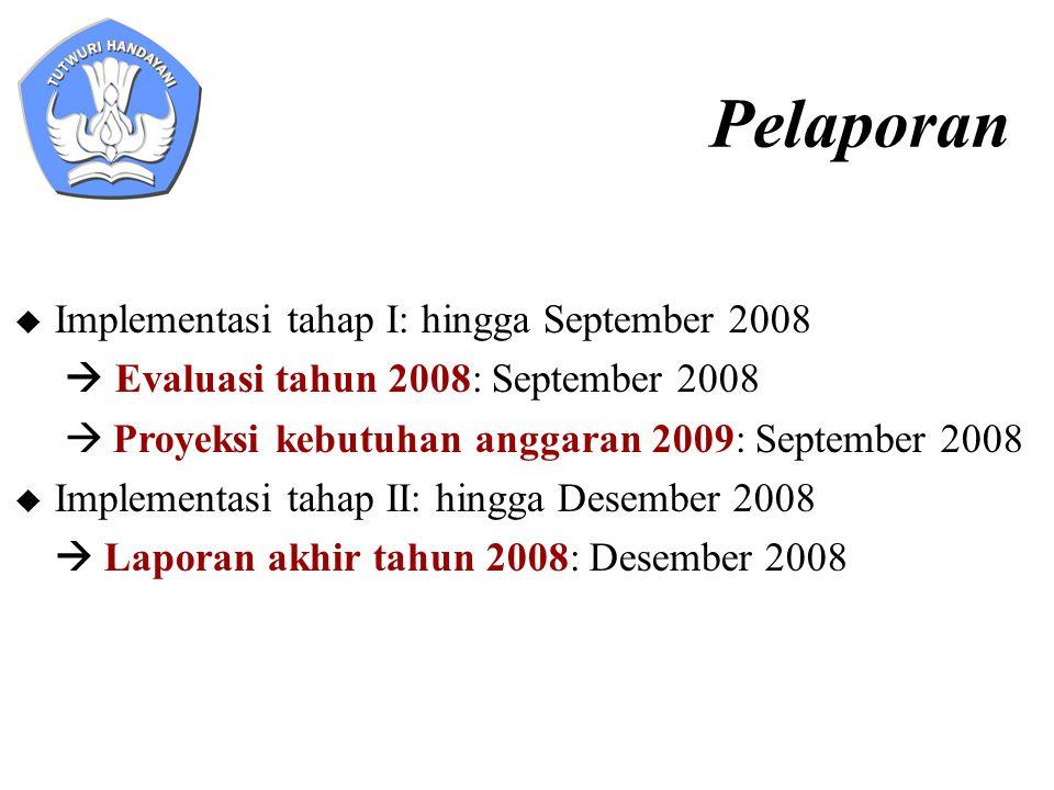 Pelaporan  Implementasi tahap I: hingga September 2008  Evaluasi tahun 2008: September 2008  Proyeksi kebutuhan anggaran 2009: September 2008  Imp