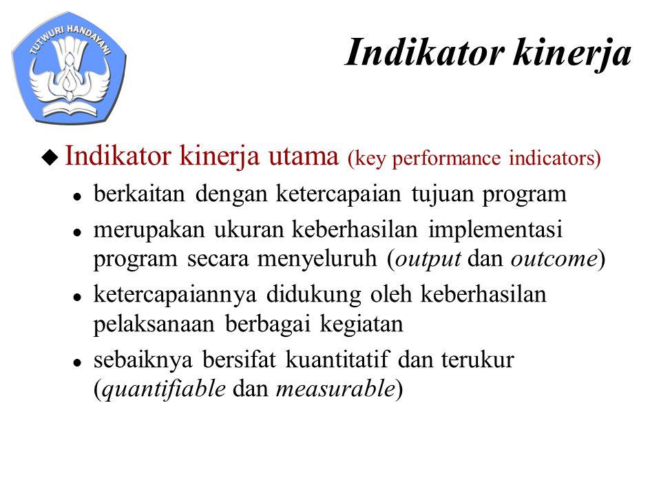 Indikator kinerja  Indikator kinerja utama (key performance indicators) berkaitan dengan ketercapaian tujuan program merupakan ukuran keberhasilan im