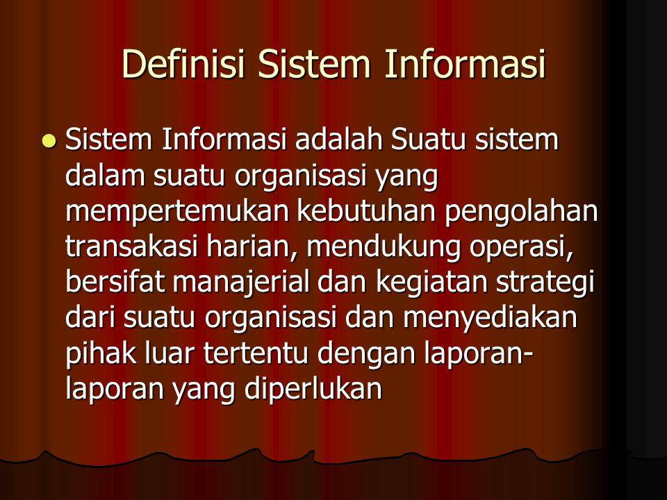 Definisi Sistem Informasi Sistem Informasi adalah Suatu sistem dalam suatu organisasi yang mempertemukan kebutuhan pengolahan transakasi harian, mendu