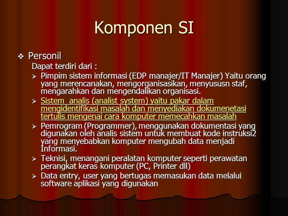 Komponen SI  Personil Dapat terdiri dari :  Pimpim sistem informasi (EDP manajer/IT Manajer) Yaitu orang yang merencanakan, mengorganisasikan, menyu