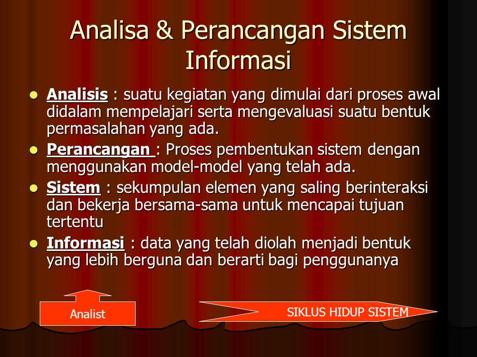 Analisa & Perancangan Sistem Informasi Analisis : suatu kegiatan yang dimulai dari proses awal didalam mempelajari serta mengevaluasi suatu bentuk per