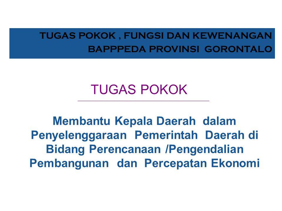 Bid. Monitoring & Ev Ir. Djafar Amir K E P A L A DR. Ir. Sudirman Habibie, MSc WAKIL KEPALA Bid. Penelitian Drs. Jusdin Puluhulawa, MSi Bid. Peren. Pe