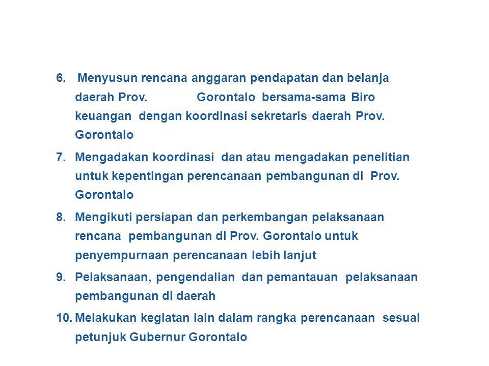 1.Menyusun pola dasar pembangunan daerah (Poldas) Prov. Gorontalo 2. Menyusun program pembangunan daerah (Propeda) Prov. Gorontalo 3. Menyusun rencana