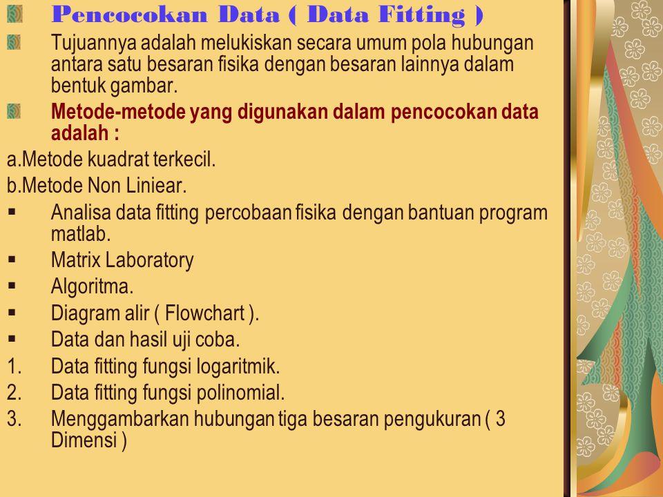 Pencocokan Data ( Data Fitting ) Tujuannya adalah melukiskan secara umum pola hubungan antara satu besaran fisika dengan besaran lainnya dalam bentuk gambar.