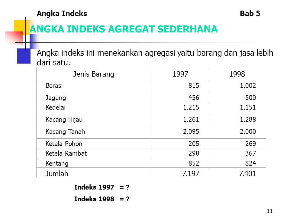 11 ANGKA INDEKS AGREGAT SEDERHANA Angka indeks ini menekankan agregasi yaitu barang dan jasa lebih dari satu.