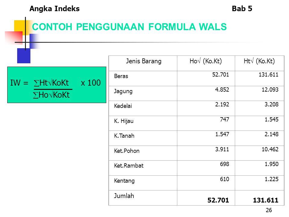 26 CONTOH PENGGUNAAN FORMULA WALS IW =  Ht  KoKt x 100  Ho  KoKt Jenis Barang Ho  (Ko.Kt)Ht  (Ko.Kt) Beras 52.701131.611 Jagung 4.85212.093 Kedelai 2.1923.208 K.
