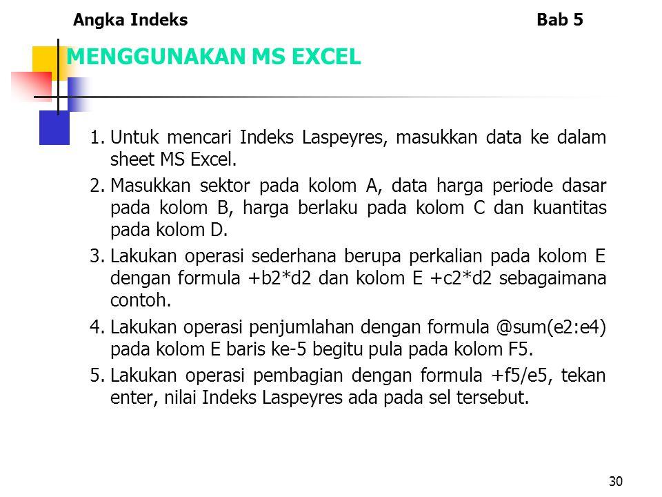 30 MENGGUNAKAN MS EXCEL 1.Untuk mencari Indeks Laspeyres, masukkan data ke dalam sheet MS Excel.