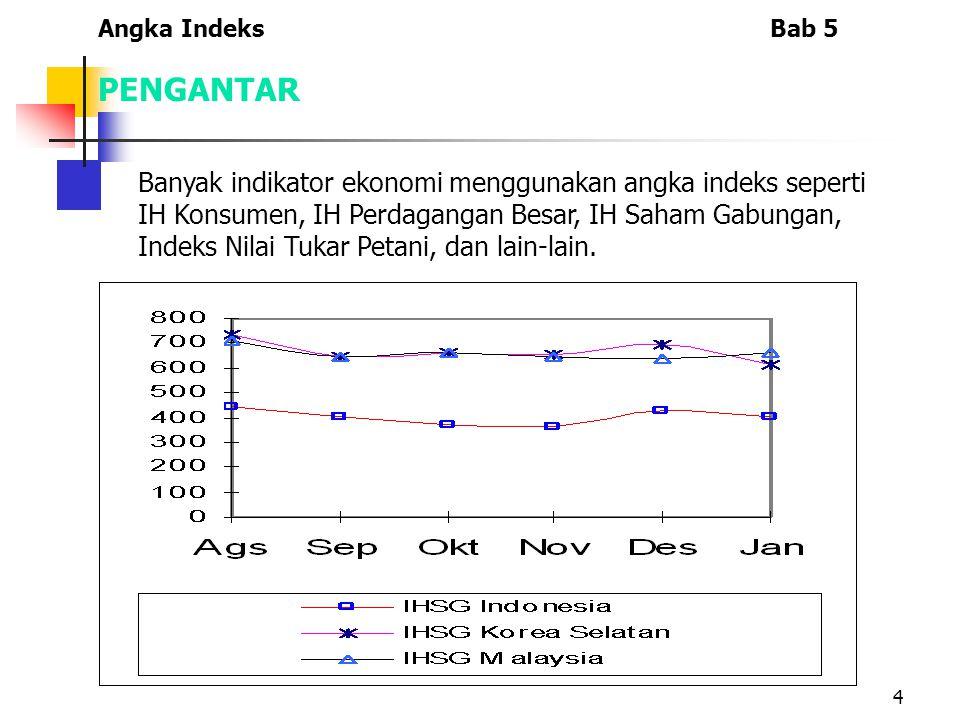 4 Banyak indikator ekonomi menggunakan angka indeks seperti IH Konsumen, IH Perdagangan Besar, IH Saham Gabungan, Indeks Nilai Tukar Petani, dan lain-lain.