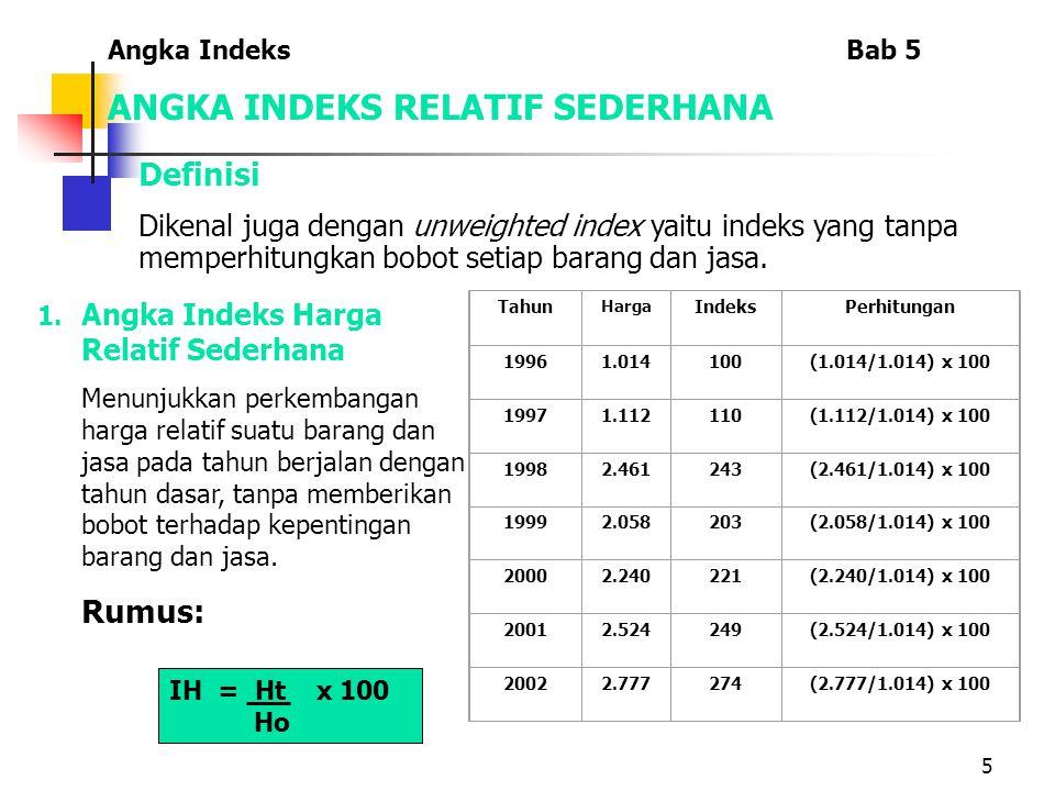 5 ANGKA INDEKS RELATIF SEDERHANA Definisi Dikenal juga dengan unweighted index yaitu indeks yang tanpa memperhitungkan bobot setiap barang dan jasa.