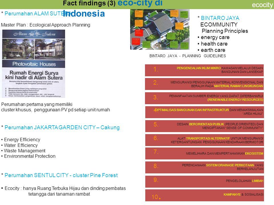 ecocity * Perumahan ALAM SUTERA Master Plan : Ecological Approach Planning Fact findings (3) eco-city di Indonesia * BINTARO JAYA ECOMMUNITY Planning
