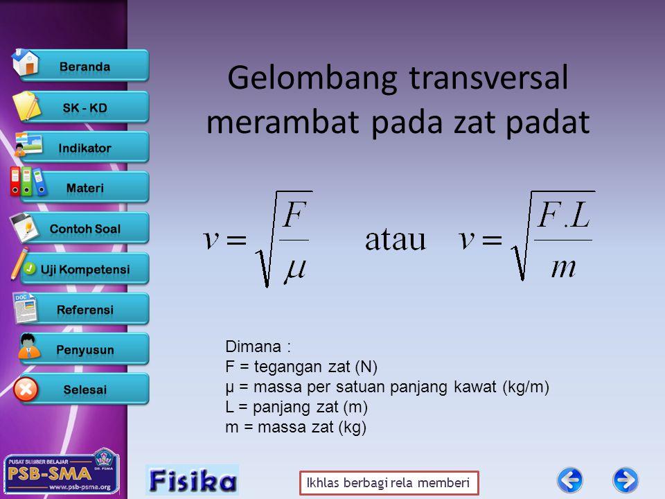 Ikhlas berbagi rela memberi Gelombang transversal merambat pada zat padat Dimana : F = tegangan zat (N) μ = massa per satuan panjang kawat (kg/m) L = panjang zat (m) m = massa zat (kg)