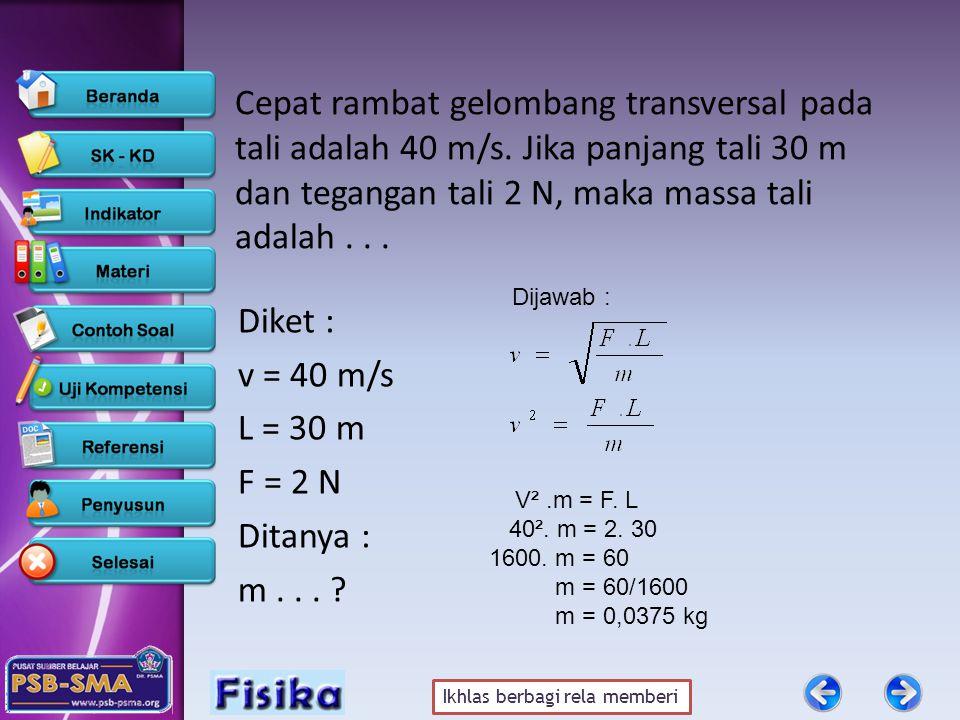 Ikhlas berbagi rela memberi Cepat rambat gelombang transversal pada tali adalah 40 m/s.