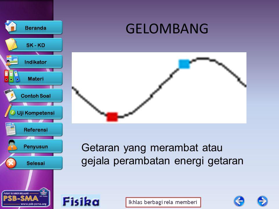 Ikhlas berbagi rela memberi GELOMBANG Getaran yang merambat atau gejala perambatan energi getaran
