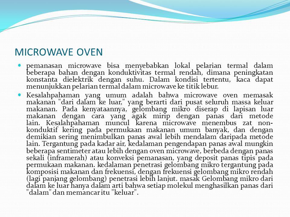 MICROWAVE OVEN pemanasan microwave bisa menyebabkan lokal pelarian termal dalam beberapa bahan dengan konduktivitas termal rendah, dimana peningkatan