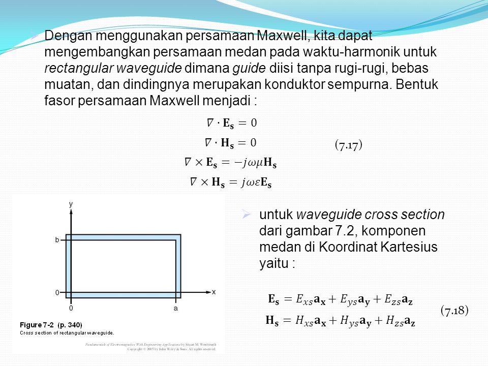  Dengan menggunakan persamaan Maxwell, kita dapat mengembangkan persamaan medan pada waktu-harmonik untuk rectangular waveguide dimana guide diisi ta