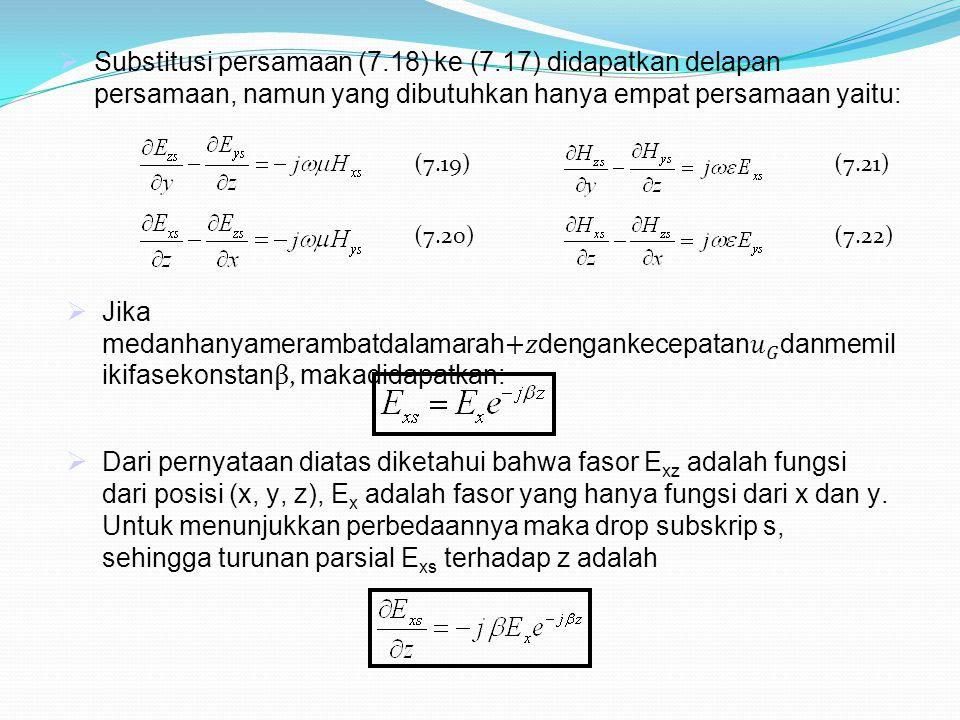  Substitusi persamaan (7.18) ke (7.17) didapatkan delapan persamaan, namun yang dibutuhkan hanya empat persamaan yaitu:  Dari pernyataan diatas dike
