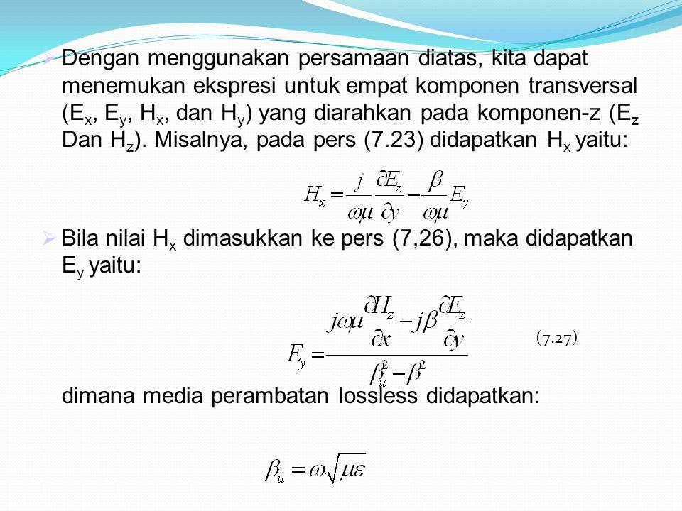  Dengan menggunakan persamaan diatas, kita dapat menemukan ekspresi untuk empat komponen transversal (E x, E y, H x, dan H y ) yang diarahkan pada ko