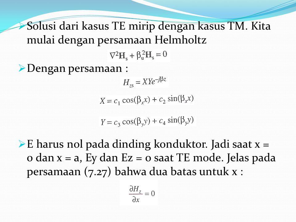  Solusi dari kasus TE mirip dengan kasus TM. Kita mulai dengan persamaan Helmholtz  Dengan persamaan :  E harus nol pada dinding konduktor. Jadi sa