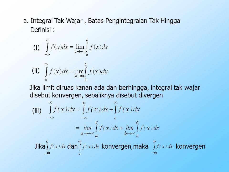 a. Integral Tak Wajar, Batas Pengintegralan Tak Hingga Definisi : Jika limit diruas kanan ada dan berhingga, integral tak wajar disebut konvergen, seb