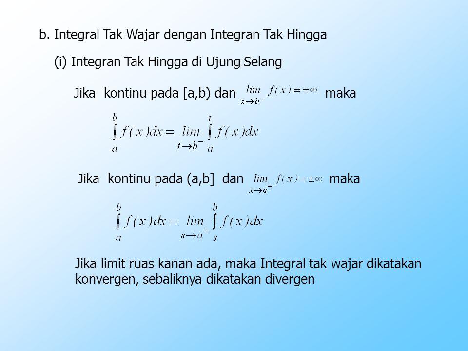 (ii) Integran Tak Hingga di Titik Dalam Selang Pengintegralan Jika f(x) kontinu pada [a,b], kecuali di c dengan a < c < b dan maka I II Jika I dan II ada dan berhingga maka integral tak wajar konvergen.