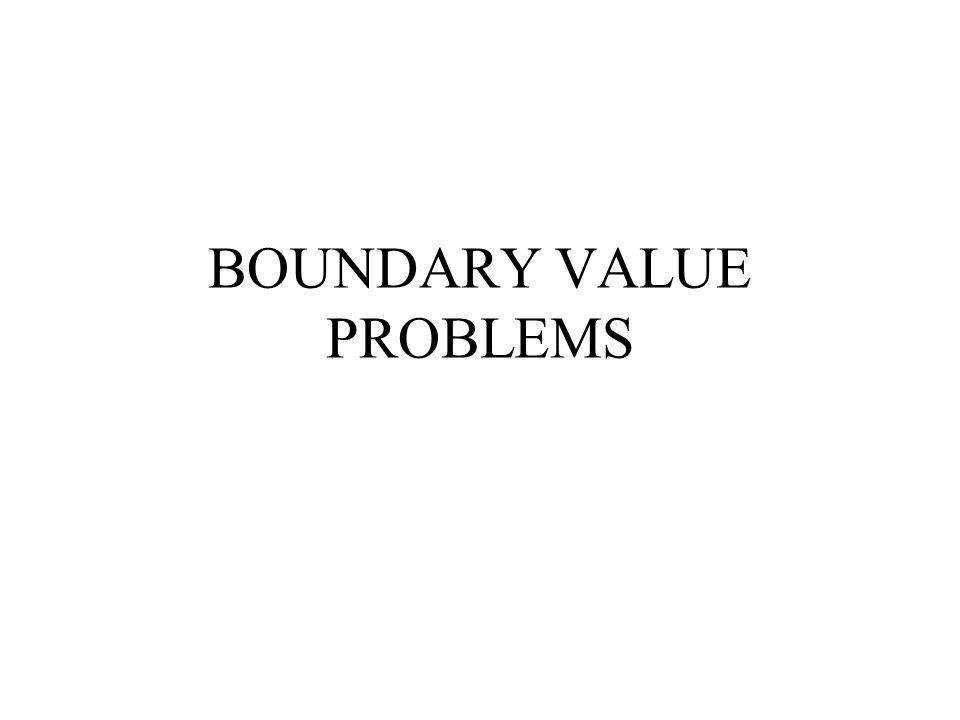 Boundary Value Problems Persamaan umum Arti pernyataan tersebut adalah bahwa persamaan ini memiliki solusi di x=a adalah y=A dan di x=b adalah y=B Dalam bidang TL, BVP sering dijumpai dalam persamaan transpor pencemar dan persamaan hidrolika air tanah