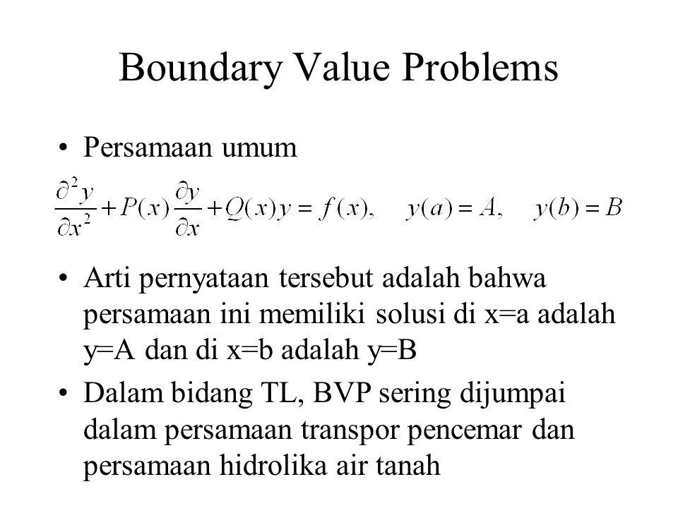 Boundary Value Problems Persamaan umum Arti pernyataan tersebut adalah bahwa persamaan ini memiliki solusi di x=a adalah y=A dan di x=b adalah y=B Dal
