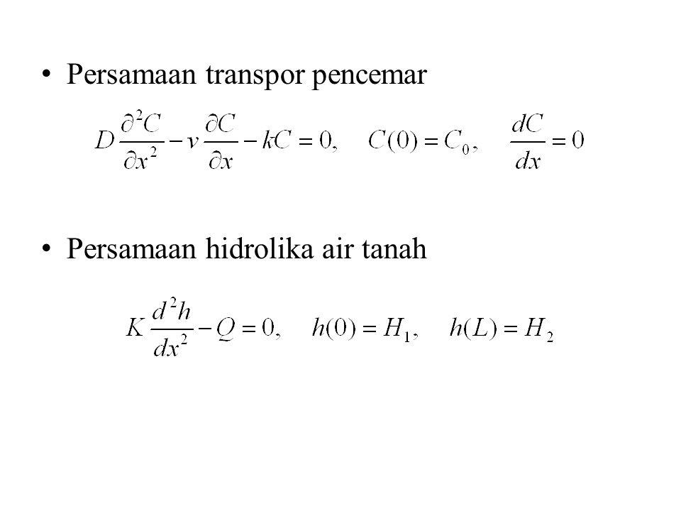 Persamaan transpor pencemar Persamaan hidrolika air tanah