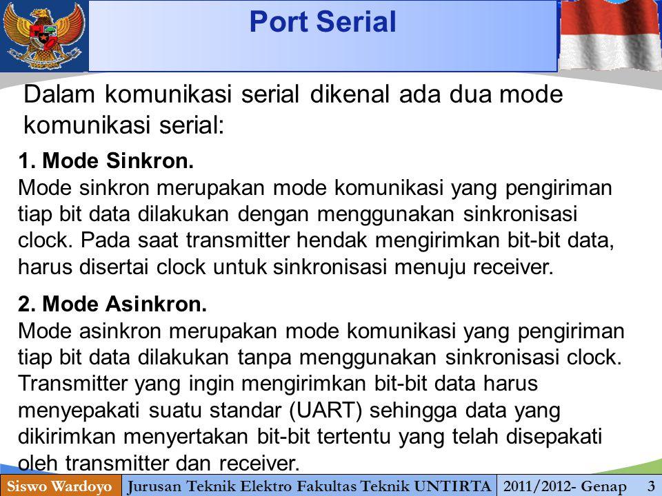 www.themegallery.com Port Serial Siswo WardoyoJurusan Teknik Elektro Fakultas Teknik UNTIRTA2011/2012- Genap 3 Dalam komunikasi serial dikenal ada dua mode komunikasi serial: 1.