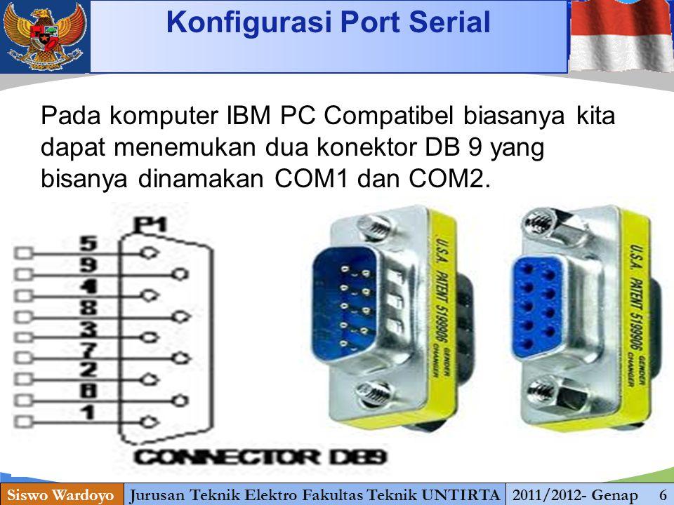 www.themegallery.com Konfigurasi Port Serial Siswo WardoyoJurusan Teknik Elektro Fakultas Teknik UNTIRTA2011/2012- Genap 6 1 13 Pada komputer IBM PC Compatibel biasanya kita dapat menemukan dua konektor DB 9 yang bisanya dinamakan COM1 dan COM2.
