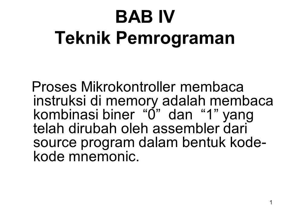 1 BAB IV Teknik Pemrograman Proses Mikrokontroller membaca instruksi di memory adalah membaca kombinasi biner 0 dan 1 yang telah dirubah oleh assembler dari source program dalam bentuk kode- kode mnemonic.