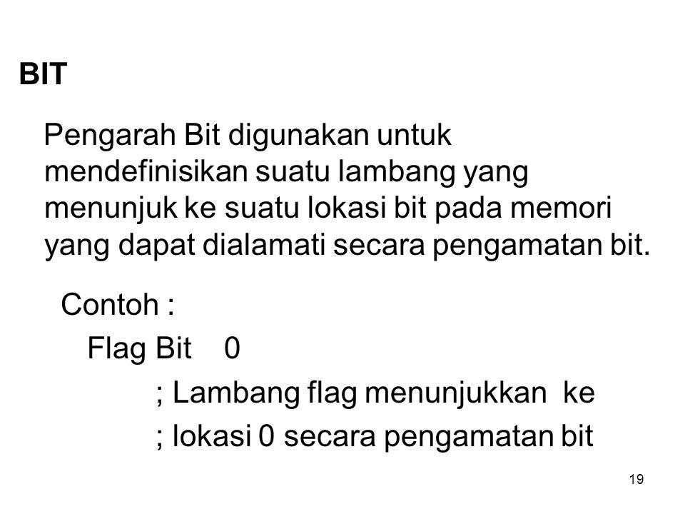 19 BIT Pengarah Bit digunakan untuk mendefinisikan suatu lambang yang menunjuk ke suatu lokasi bit pada memori yang dapat dialamati secara pengamatan bit.
