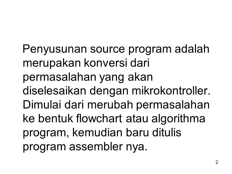 2 Penyusunan source program adalah merupakan konversi dari permasalahan yang akan diselesaikan dengan mikrokontroller. Dimulai dari merubah permasalah