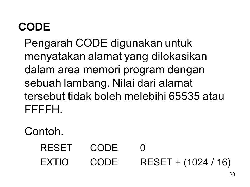 20 CODE Pengarah CODE digunakan untuk menyatakan alamat yang dilokasikan dalam area memori program dengan sebuah lambang. Nilai dari alamat tersebut t