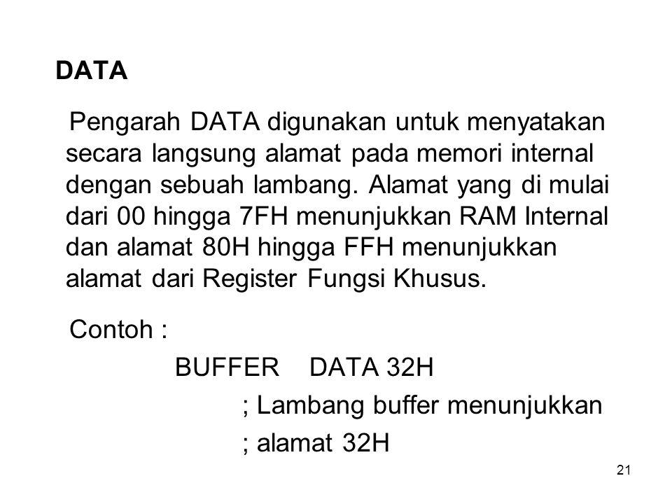 21 DATA Pengarah DATA digunakan untuk menyatakan secara langsung alamat pada memori internal dengan sebuah lambang. Alamat yang di mulai dari 00 hingg