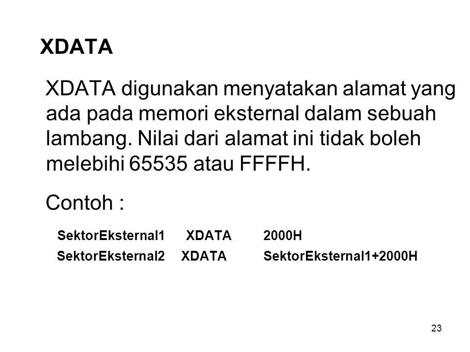 23 XDATA XDATA digunakan menyatakan alamat yang ada pada memori eksternal dalam sebuah lambang. Nilai dari alamat ini tidak boleh melebihi 65535 atau