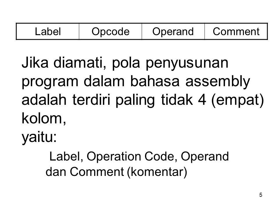 5 Jika diamati, pola penyusunan program dalam bahasa assembly adalah terdiri paling tidak 4 (empat) kolom, yaitu: Label, Operation Code, Operand dan Comment (komentar) LabelOpcodeOperandComment