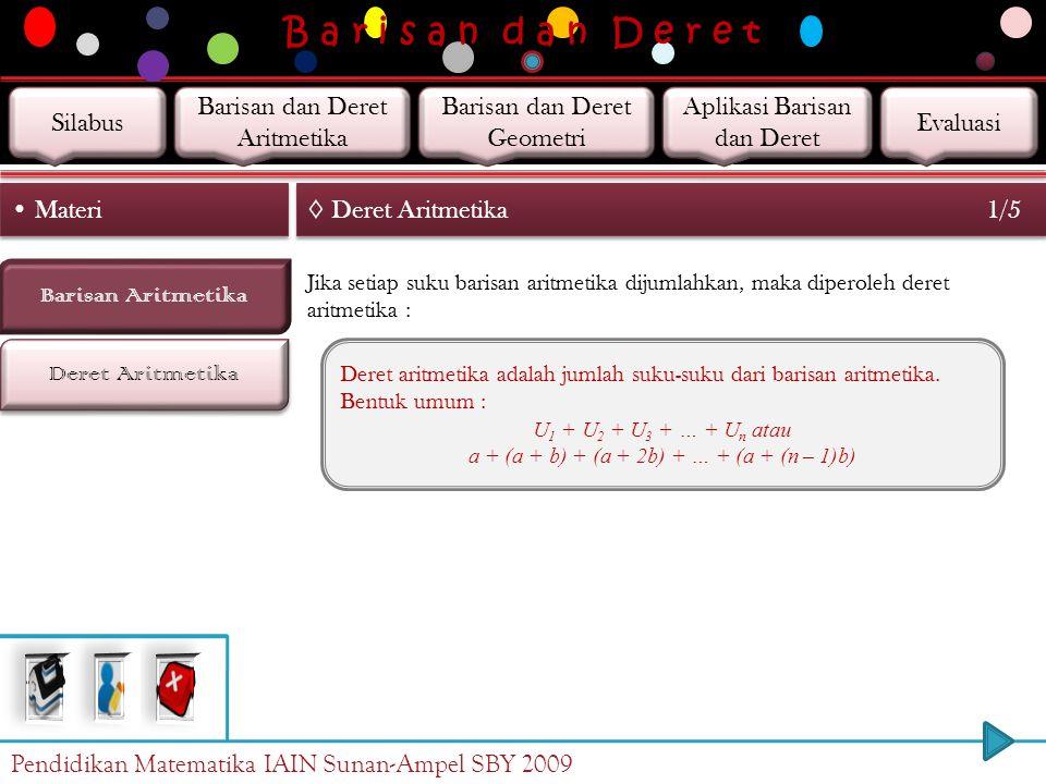 B a r i s a n d a n D e r e t Barisan Aritmetika Deret Aritmetika Materi ◊ Barisan Aritmetika Contoh 6/6 b. Suku ke-25 barisan aritmetika tersebut ada