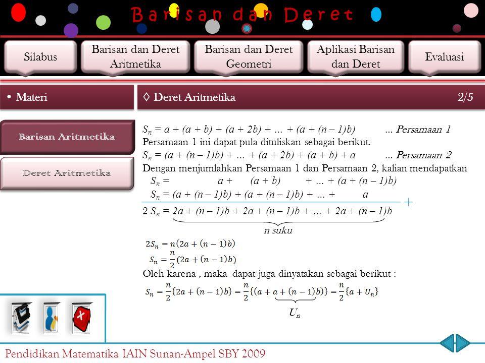 B a r i s a n d a n D e r e t Deret Aritmetika Barisan Aritmetika Materi ◊ Deret Aritmetika 1/5 Jika setiap suku barisan aritmetika dijumlahkan, maka