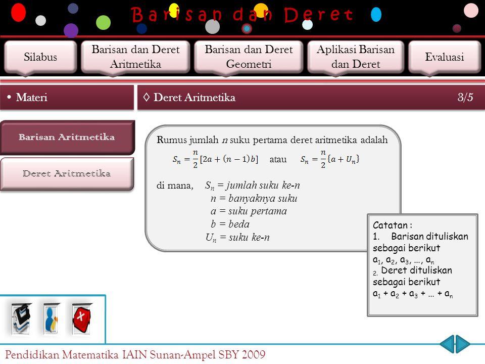 B a r i s a n d a n D e r e t Deret Aritmetika Barisan Aritmetika Materi ◊ Deret Aritmetika 2/5 S n = a + (a + b) + (a + 2b) + … + (a + (n – 1)b) … Pe
