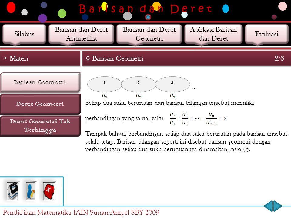 B a r i s a n d a n D e r e t Barisan Geometri Deret Geometri Materi ◊ Barisan Geometri 1/6 Deret Geometri Tak Terhingga Niko mempunyai selembar kerta
