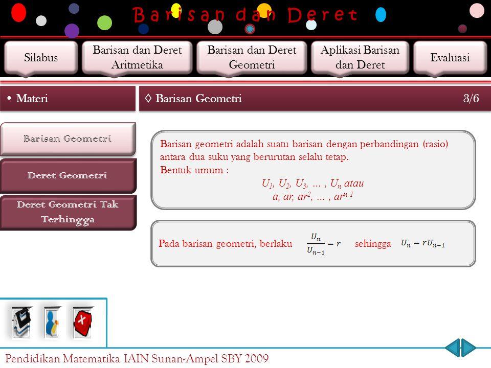 B a r i s a n d a n D e r e t Barisan Geometri Deret Geometri Materi ◊ Barisan Geometri 2/6 Deret Geometri Tak Terhingga … Setiap dua suku berurutan d